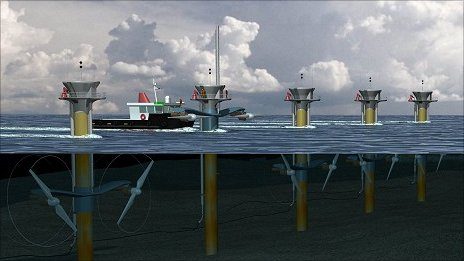 Artist&#039;s impression of tidal energy project