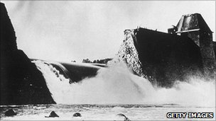 The Mohne Dam after being attacked in the Dambusters raid in 1943