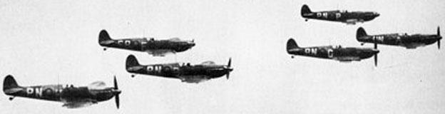 Spitfires flying in formation
