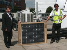 Solar panel on the roof of Sheffield University