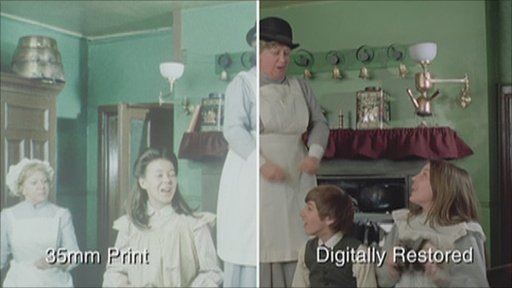 A still of The Railway Children before and after restoration