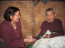 Sally Steen with Saw Aung Than, a Burma veteran