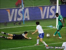 Yakubu Ayegbeni misses an open goal in the World Cup game against South Korea