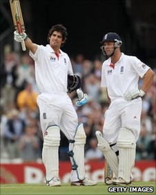 Alastair Cook celebrates his hundred