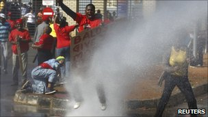 Water canon fired at protesters at a Soweto hospital