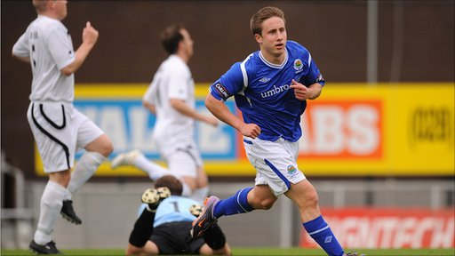 Linfield's Michael Carvill scored the only goal of the game to give the Blues their first win in the Carling Premiership