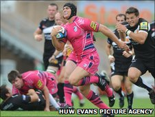 Cardiff Blues wing Tom James goes clear for the game's opening try