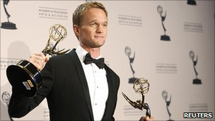 Neil Patrick Harris with his Emmy Awards