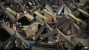 Camps at a displaced person's camp in Pakistan