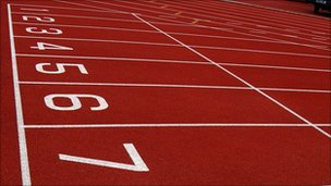 Starting blocks with numbered running lanes