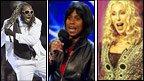 Rapper T-Pain, X Factor contestant Shirlena Johnson and Cher