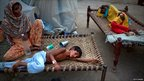 Children at a makeshift hospital in Muzaffargarh in Punjab, Pakistan, 22 August. 