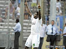 Marseille defender Taye Taiwo celebrates