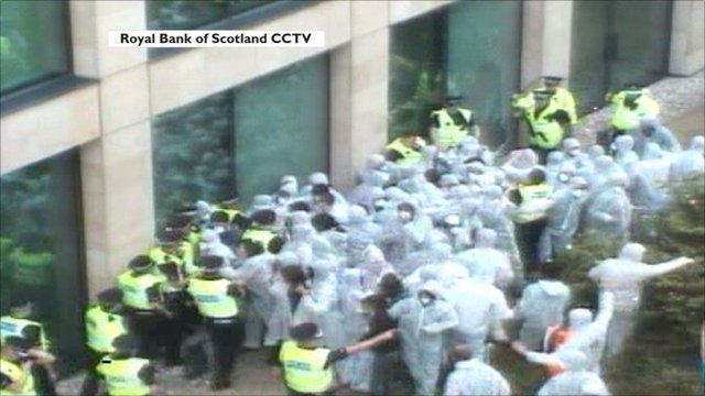 climate protesters at RBS building