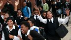 Pupils leave a Durban High school after thousands of teachers joined the strike on Thursday 19 August