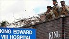 Members of the South African army at the King Edward VIII Hospital in Durban