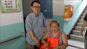 Fr Zhang and resident at old people&#039;s home, China