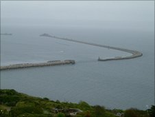 Portland Harbour. HMS Hood was sunk at the entrance in 1914