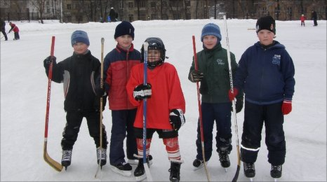 School No 108's sporty pupils play ice hockey in winter