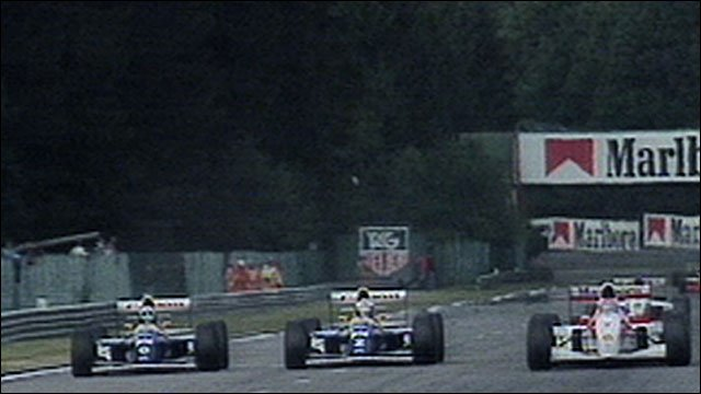 Damon Hill passes Alain Prost