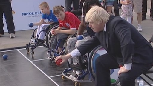 Mayor of London Boris Johnson has a go at boccia in Trafalgar Square
