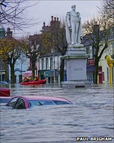 Cockermouth town centre during the 2009 floods