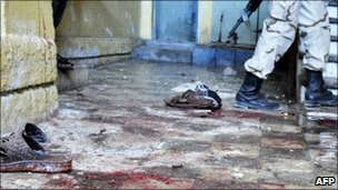 Blood in the hall inside the Hotel Muna in Mogadishu on 24 August 2010