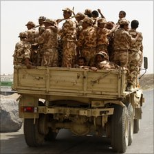 Soldiers in Harf Sufian district in the northern Yemeni province of Amran