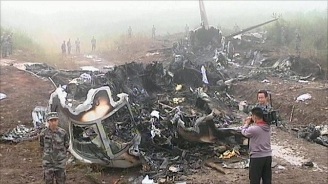 The wreckage of the Henan Airlines plane