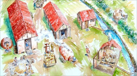 Artists impression of the Roman industrial estate discovered alongside the A1. Picture by Alan Marshall of Heron Recreations.