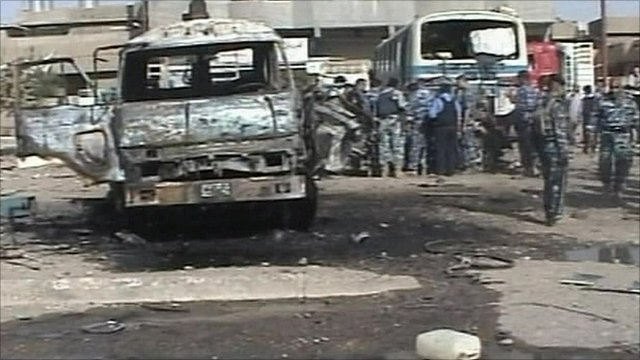 A bombed-out van in Iraq