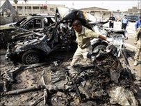 Wreckage of a car bomb attack in Basra, Iraq, on 25 August, 2010