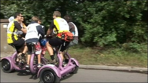 The seven man bike on a charity cycle ride