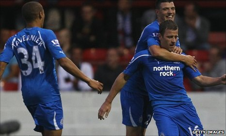 Ryan Taylor (right) opened the scoring for Newcastle