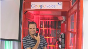 Craig Walker in Google Voice phone box