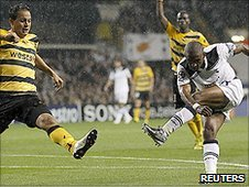 Jermain Defoe (right) lashes in a shot to put Spurs 2-0 up against Young Boys