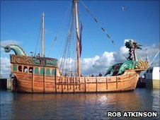 The 'Matthew' from Bristol has been outfitted to look like The Dawn Treader