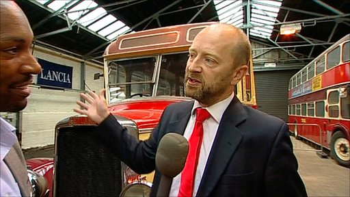 Des Coleman talks to Simon Barton, relative of Thomas Henry Barton at Barton's Buses headquarters in Chilwell, Nottingham