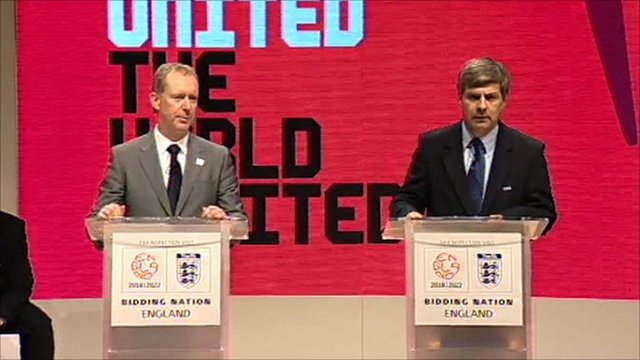 Chief executive of England's 2018 World Cup bid Andy Anson and Fifa bid inspection leader Harold Mayne-Nicholls