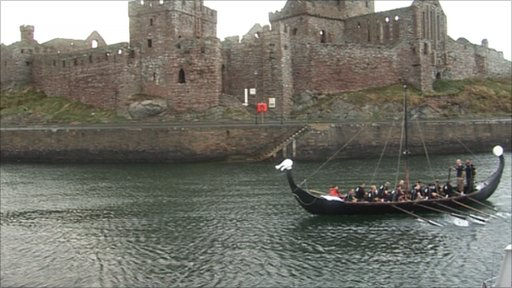 Viking Long Boat off the Manx coast at Peel