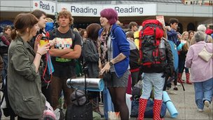 Festival-goers at Reading station