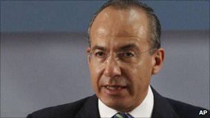 "Mexico's President Felipe Calderon speaks during the anti-crime round-table ""Dialog for Security"" in Mexico City, 19 Aug 2010"