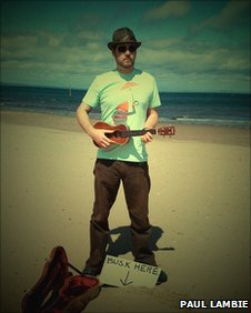 Busker at Portobello Beach, photo courtesy of Paul Lambie