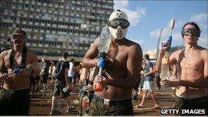 Israeli youths take part in annual Tel Aviv water fight