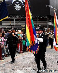 Policemen marching in the Manchester Pride parade