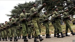 Kenya Army soldiers rehearse a military parade at Uhuru Park, Nairobi, Kenya, Tuesday, 24 August 2010