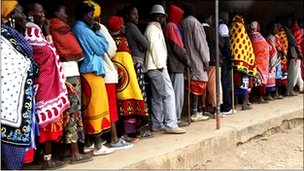 Kenyans line up to vote at a polling station in Ngong