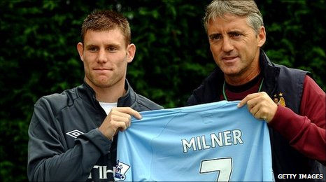 James Milner and Roberto Mancini