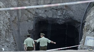 Police at the Copiapo mine in northern Chile, where 33 men are trapped underground
