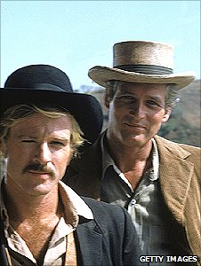 Robert Redford and Paul Newman in publicity still for the film Butch Cassidy and the Sundance Kid